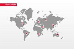 Simbolo infographic della mappa di mondo di vettore Icone capitali del punto della mappa del paese Segno globale internazionale d Fotografie Stock Libere da Diritti