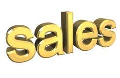 Simbolo isolato di vendite in oro - 3d Immagini Stock