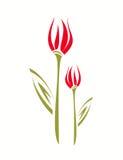 Simbolo isolato stylized tulipano, stile dei bambini. Fotografia Stock Libera da Diritti