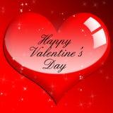 Simbolo lucido rosso di amore del cuore. Bello giorno di biglietti di S. Valentino lucido Fotografia Stock Libera da Diritti