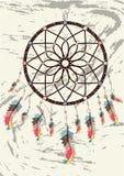 simbolo magico Dreamcatcher con le pietre preziose e le piume royalty illustrazione gratis