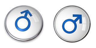Simbolo maschio blu del tasto Fotografia Stock Libera da Diritti