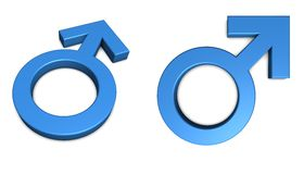 Simbolo maschio blu su bianco Immagine Stock Libera da Diritti