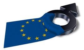 Simbolo maschio e bandiera dell'Eu Immagine Stock