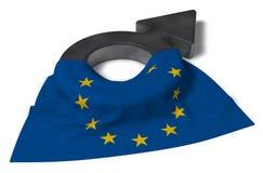 Simbolo maschio e bandiera dell'Eu Fotografie Stock