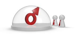 Simbolo maschio sotto la cupola ed i pegni di vetro Fotografia Stock