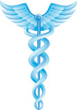 Simbolo medico del Caduceus - azzurro Fotografie Stock Libere da Diritti