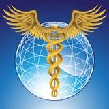 Simbolo medico del Caduceus con il globo 3D Fotografia Stock