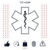 Simbolo medico dell'emergenza - stella dell'icona di vita Fotografie Stock Libere da Diritti