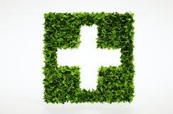 Simbolo medico di ecologia con fondo bianco Fotografia Stock