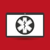 Simbolo medico di servizio di Notebook PC Fotografia Stock Libera da Diritti
