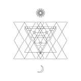 Simbolo mistico astratto della geometria Vector il segno occulto e filosofico lineare dell'alchemia, Fotografie Stock Libere da Diritti