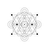 Simbolo mistico astratto della geometria Vector il segno occulto e filosofico lineare dell'alchemia, Fotografia Stock Libera da Diritti