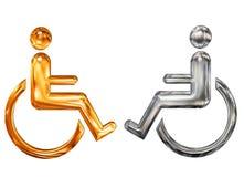 Simbolo modellato dorato e d'argento dell'handicap Fotografie Stock Libere da Diritti