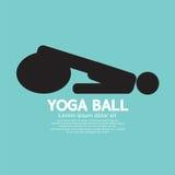 Simbolo nero di Person Playing On Yoga Ball Immagine Stock