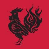 Simbolo nero rosso 2017 del nuovo anno cinese del gallo del fuoco Immagini Stock Libere da Diritti
