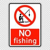 simbolo nessun'etichetta da pesca del segno su fondo trasparente illustrazione di stock