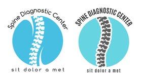Simbolo o logo medico di sistemi diagnostici della spina dorsale Immagine Stock