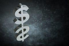Simbolo o segno di valuta degli Stati Uniti con la riflessione di specchio su Dusty Background scuro illustrazione di stock