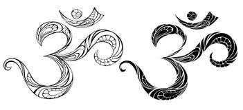 Simbolo OM di contorno su fondo bianco Fotografia Stock