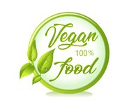 Simbolo organico e naturale Simboli sani dell'alimento alimento 100% del vegano organico Leavs di vettore royalty illustrazione gratis