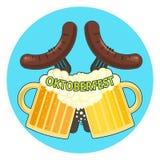 Simbolo più oktoberfest variopinto luminoso con due tazze di birra e due salsiccie Immagini Stock Libere da Diritti