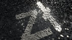 Simbolo polacco di zloty fatto dei numeri metallici stock footage