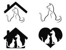 Simbolo preoccupantesi dell'animale domestico del gatto e del cane Fotografie Stock Libere da Diritti