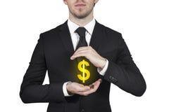 Simbolo proteggente del dollaro dell'uomo d'affari Immagini Stock Libere da Diritti