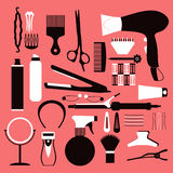 Simbolo relativo di lavoro di parrucchiere Insieme di vettore degli accessori per capelli Immagine Stock
