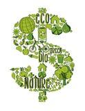 Simbolo ricco verde con le icone ambientali Fotografia Stock Libera da Diritti