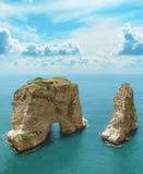 Simbolo rocce del piccione del Libano, Beirut immagini stock libere da diritti