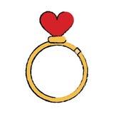 Simbolo romanzesco di nozze del cuore di amore degli anelli del fumetto royalty illustrazione gratis