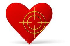 Simbolo rosso del cuore con l'obiettivo Immagine Stock Libera da Diritti
