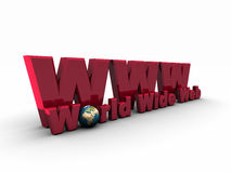 simbolo rosso di 3D WWW Fotografia Stock