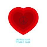 Simbolo rosso di pace e del cuore dentro per il manifesto o il fondo circa il giorno di pace Immagine Stock