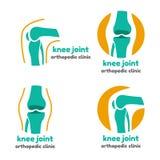 Simbolo rotondo delle ossa del giunto di ginocchio Fotografie Stock Libere da Diritti