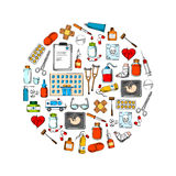 Simbolo rotondo medico con le icone di schizzo Fotografia Stock Libera da Diritti