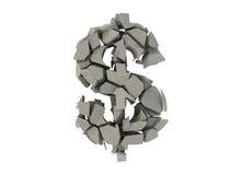 Simbolo rotto del dollaro Fotografia Stock Libera da Diritti