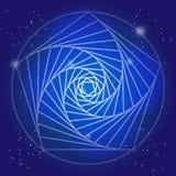 Simbolo sacrale nello spazio, su cielo blu profondo con le stelle Arte moderno spiritosa di disegno?, priorità bassa, grunge Il c illustrazione di stock