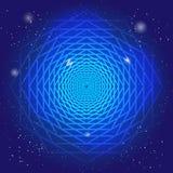 Simbolo sacrale nello spazio, su cielo blu profondo con le stelle Arte moderno spiritosa di disegno?, priorità bassa, grunge Il p illustrazione di stock