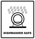 Simbolo sicuro della lavastoviglie isolato Segno sicuro isolato, illustrazione della lavastoviglie di vettore Simbolo per uso nel Immagini Stock Libere da Diritti