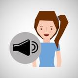 Simbolo sorridente del volume di musica della ragazza Immagini Stock Libere da Diritti