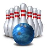 Simbolo stabilito della ciotola della sfera del perno dei pin di bowling dieci Fotografie Stock Libere da Diritti