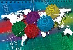 Simbolo stilizzato di BRICS degli ingranaggi illustrazione vettoriale