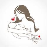Simbolo stilizzato di vettore del bambino e della madre Immagini Stock Libere da Diritti