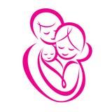 Simbolo stilizzato di vettore della famiglia felice Immagine Stock Libera da Diritti