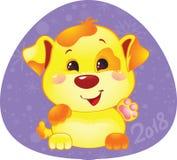 Simbolo sveglio dell'oroscopo cinese - cane giallo Fotografia Stock Libera da Diritti