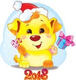 Simbolo sveglio dell'oroscopo cinese - cane giallo per il nuovo anno 2018 Fotografia Stock Libera da Diritti