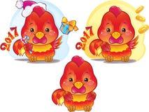 Simbolo sveglio dell'oroscopo cinese - gallo del fuoco Fotografie Stock Libere da Diritti